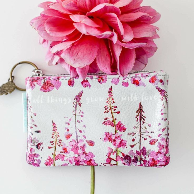 All things grow with love. Hand painted fireweed stems on our new coin purse. There's a new crop of these available.