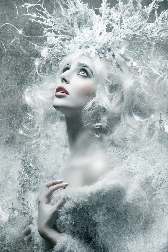 Snow queen surreal fantasy white frost photo portrait photography