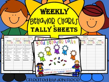 Weekly Behavior Charts and Tally Sheets for Behavior Management at School and/or Home Every teacher needs efficient charts and checklists to communicate and document student behavior in the classroom to parents. Bonus - this resource now includes Behavior Tally Sheets to keep track of positive behavior!