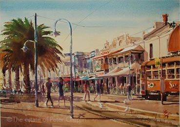'Tram stop Moseley Square', watercolour on paper, image size 71 cm x 52 cm, unframed $1200. ©The estate of Peter Chaplin.  All rights reserved.