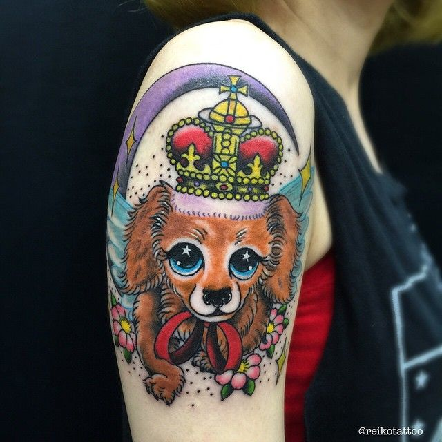#dog #crown #犬 #ミニチュアダックス #王冠 #tattoo #タトゥー #reikotattoo #studiokeen #名古屋 #大須 #矢場町