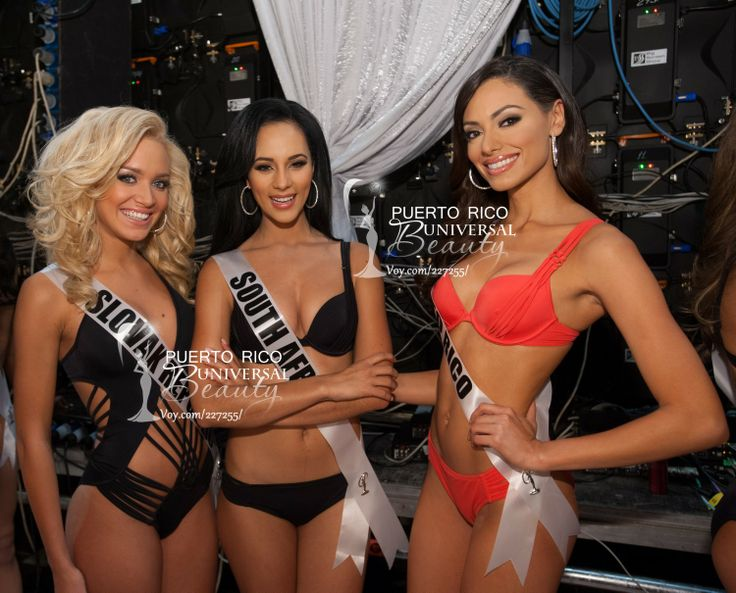 Jeanette Borhyová, Miss Universe Slovak Republic 2013; Marilyn Ramos, Miss Universe South Africa 2013; and Monic Perez, Miss Universe Puerto Rico 2013; backstage during the Preliminary Competition on November 5, 2013.
