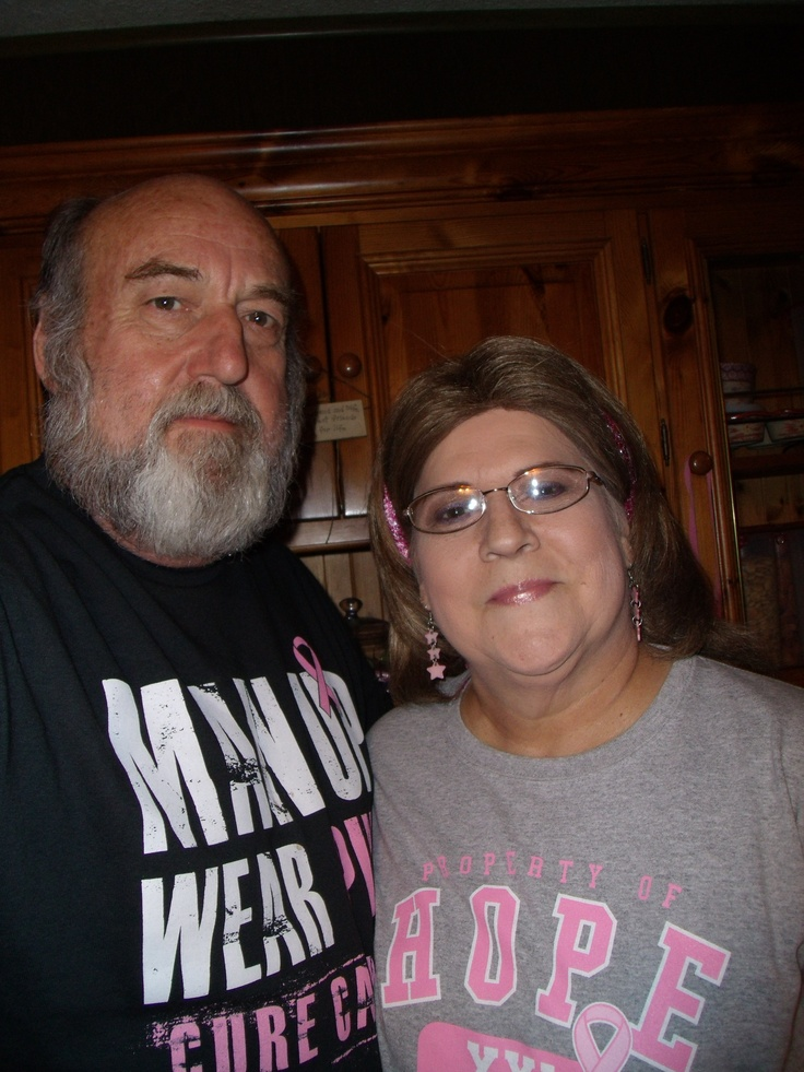 #pinittoendit - My awesome hubby & caregiver and myself - 1 yr. survivor/warrior!!