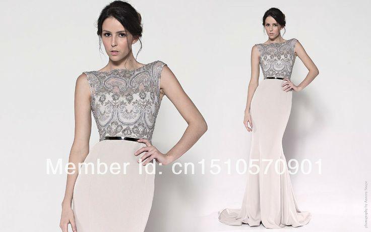 2014 New Fashion Elegant Sexy Mermaid Sleeveless Sequined Sashes Lace Appliques Celebrity Dresses US $108.00