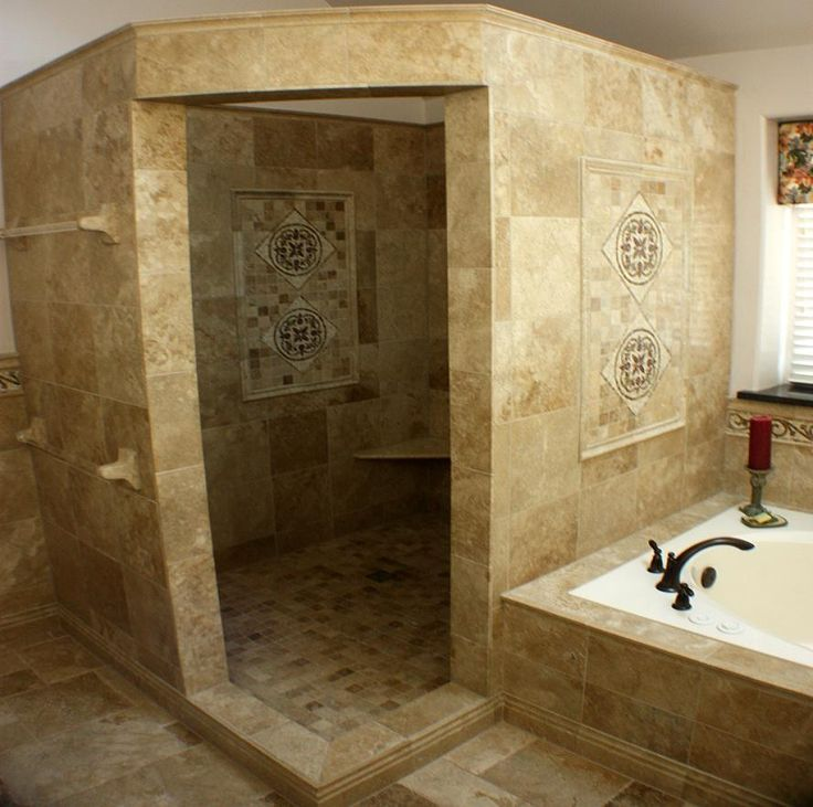 Bathroom: Marvelous Picture Of Small Bathroom With Shower Stall Decoration  Using Travertine Tile Bathtub Surround Including Doorless Shower Design And  ...