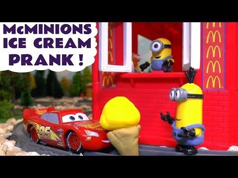 Minions McDonald's Drive Thru Ice Cream Prank with Cars McQueen & Thomas Toy Train Learn Colors TT4U - YouTube