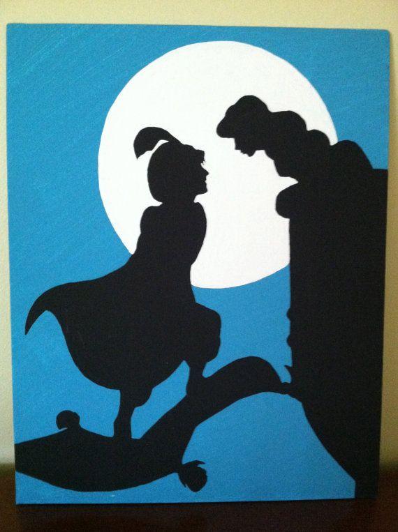 Disney aladdin silhouette wwwimgkidcom the image kid for Aladdin and jasmine on carpet silhouette