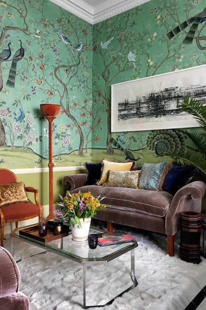 de Gournay Chinoiserie wallpaper - Ideas for wallpaper and wall coverings for bedrooms, bathrooms, hallways and kitchens big and small from the House & Garden archive.