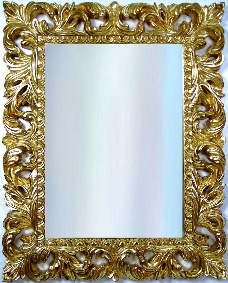 Rama lustra wykonana z masy żywicznej, pokryta płatkami szlaki złotej. Tafla lustra kryształowa, szlif fazowy. Wymiary wraz z ramą: 100x 80cm. Wymiary tafli: 48cm x 68cm.