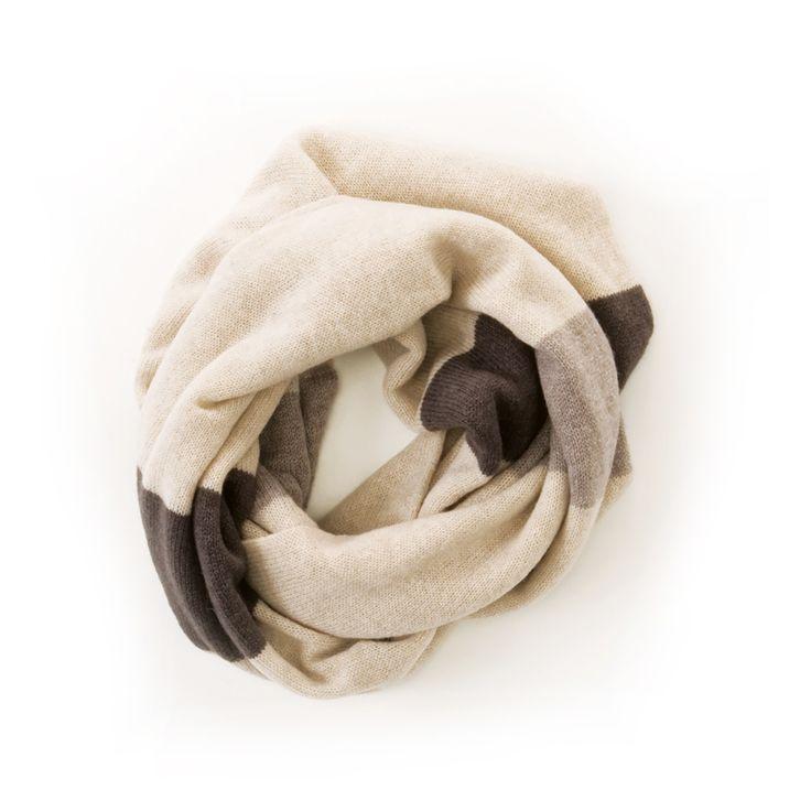 Sciarpa ad anello in tre colori 100% Cashmere Diversi colori disponibili