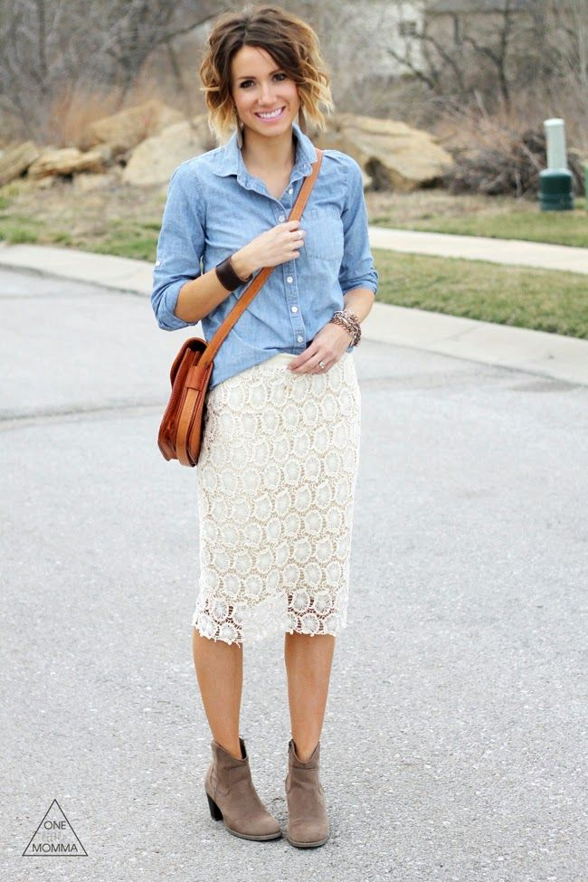 Crocheted Skirt and Chambray. I have this skirt I love it!!