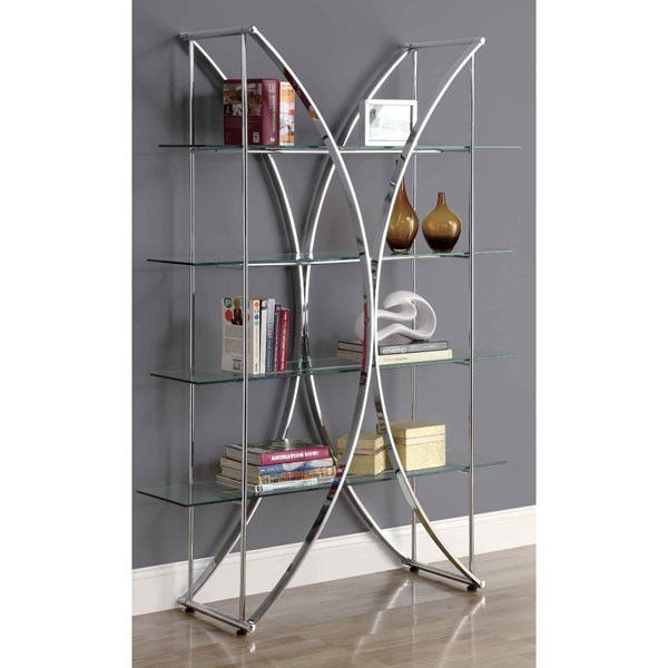chrome metal etagere with tempered glass shelves