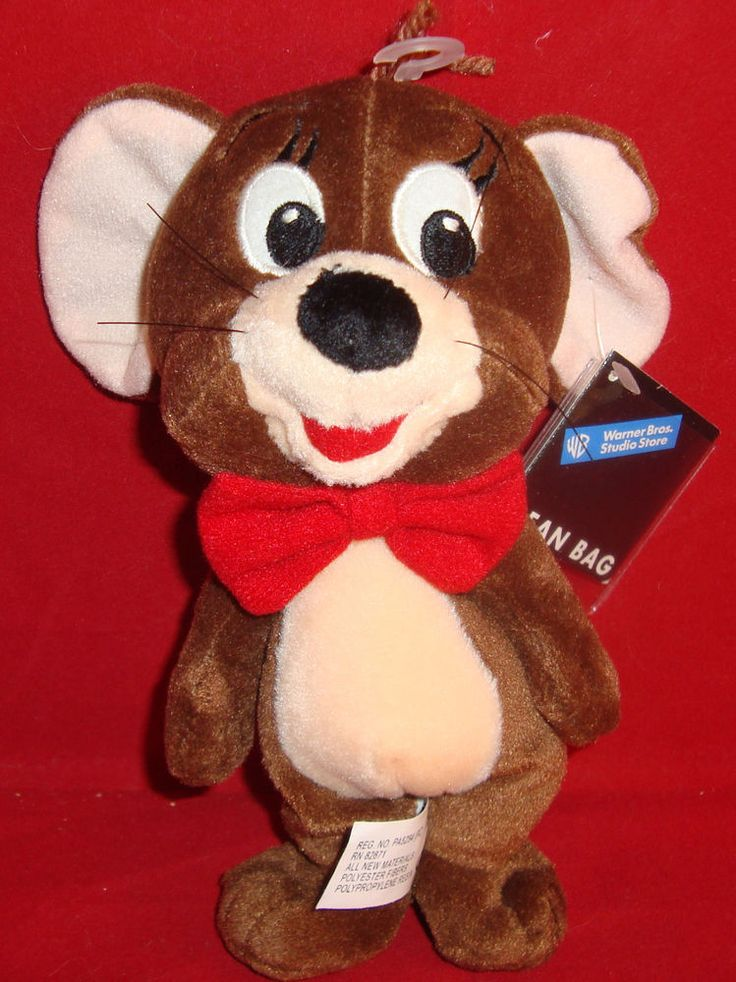 """WARNER BROS STORE-JERRY(TOM&)MOUSE BEAN PLUSH-8""""-NEW/TAGS-WHISKERS-BOW TIE-1999- #WARNERBROSSTUDIOSTORE"""