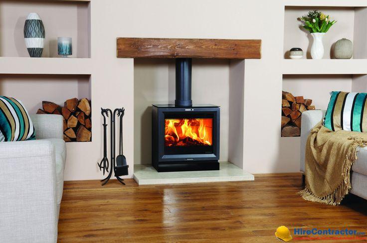 A wood-burning fireplace