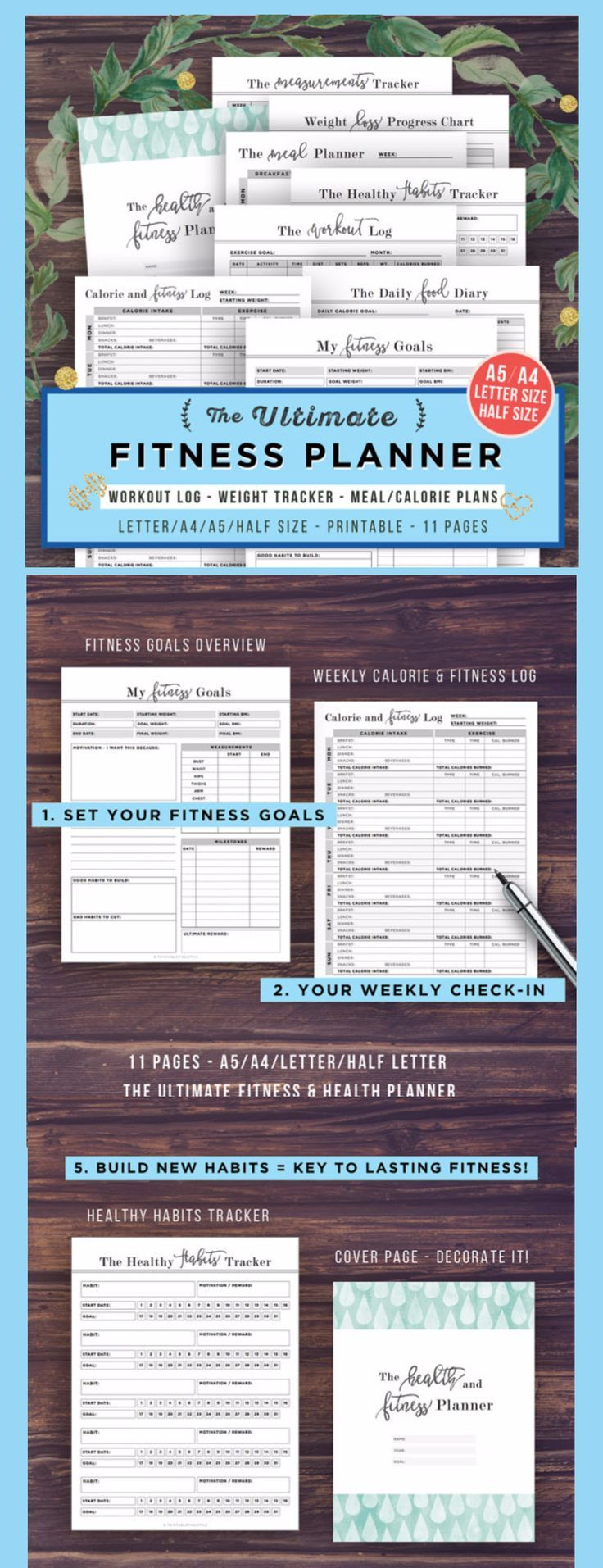 Check out this Fitness Planner Printable, Health Planner, Fitness Journal, Workout Log, A5, A4, Letter, Food Diary, Calorie Tracker, Daily Weight Loss, PDF