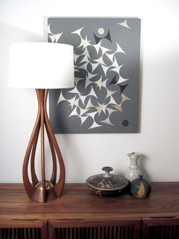 MidCentury Danish Modern Walnut Biomorphic Lamp
