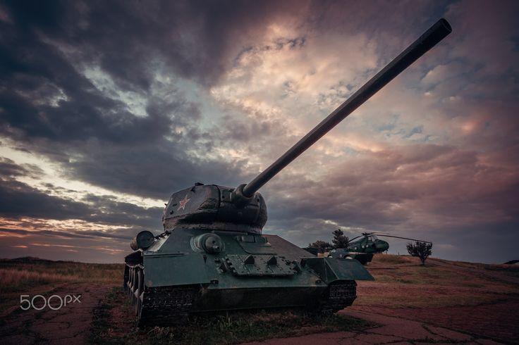 Exhibit distant war years - Soviet tanks in the open air T-34 at the museum. City Temryuk, Krasnodar region.