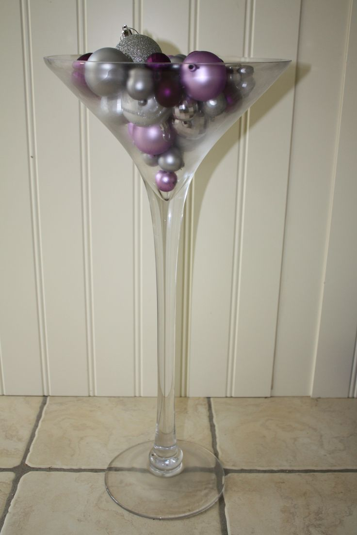 Our 50cm Martini Vase Filled With Various Sizes Of Purple