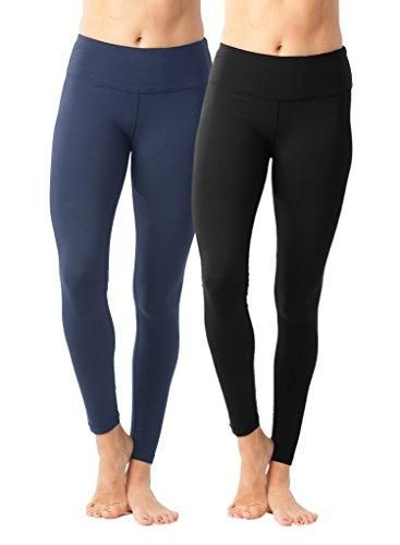 32339d7c67d3c 90 Degree By Reflex Womens Power Flex Yoga Pants - Black and Winter Blue 2  Pack