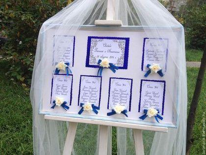 Карта рассадки гостей в деревянной раме - тёмно-синий,синий,свадьба,карта рассадки гостей