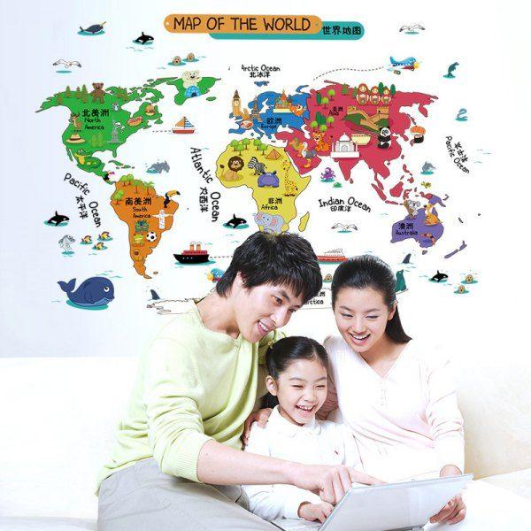 Sweet Removable Cartoon Animal Pattern World Map Design DIY Wall Sticker #shoes, #jewelry, #women, #men, #hats, #watches, #belts