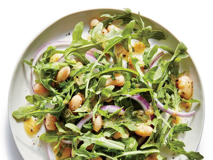 Side: Lemony White Bean-and-Arugula Salad with Simple Leek Frittata with Roasted Almond Romesco