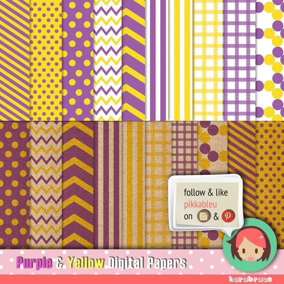 Purple & Yellow modern-vintage digital paper by Butterland on Etsy