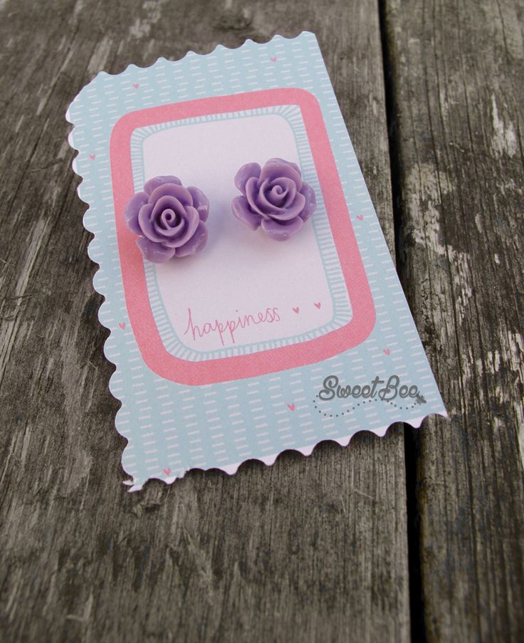 Rose Earrings in Lilac  Available at:  Sweet Bee https://www.etsy.com/uk/shop/SweetBeeGift