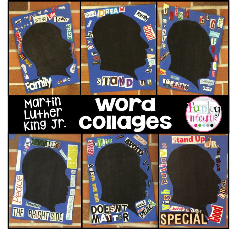 Use old magazines to create a meaningful MLK project. Students find and build words and phrases that represent MLK and the man that he was. See more examples and a how-to at Funky in Fourth.