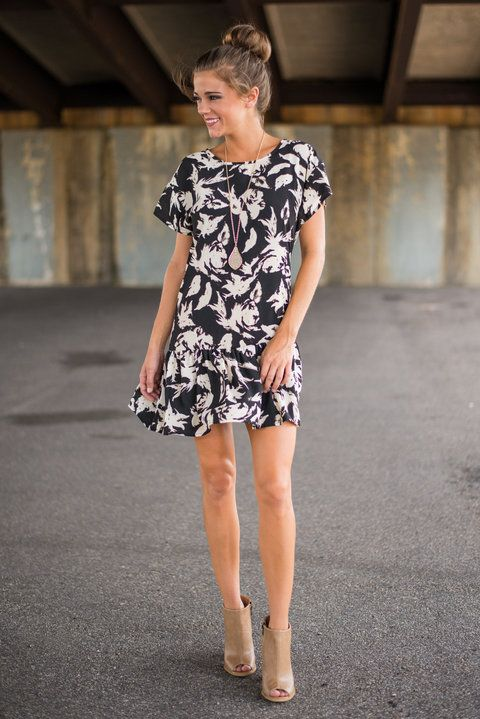 Abstract Aviation Dress, Black - The Mint Julep Boutique