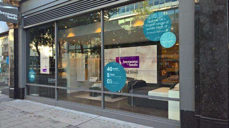 Window vinyls, hanging banners, tickets, tent cards + installation for @BensonsForBeds new store #makingmagichappen
