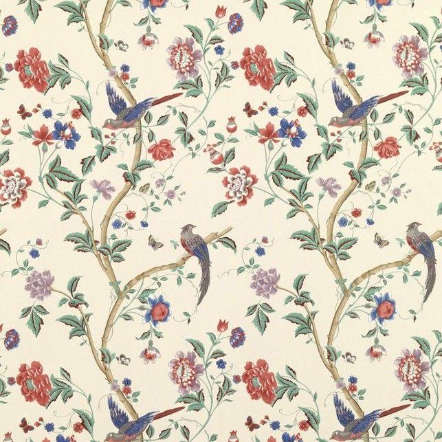 Бумажные обои с рисунком птиц и растительности насыщенного цвета SUMMER PALACE (Multi/Crimson)