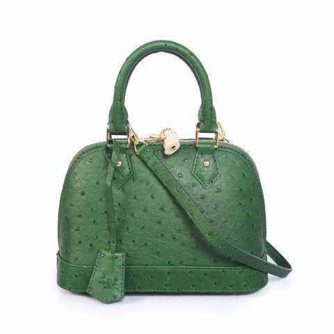 #91606 Louis Vuitton 2013 Ostrich Leather Alma BB - Green