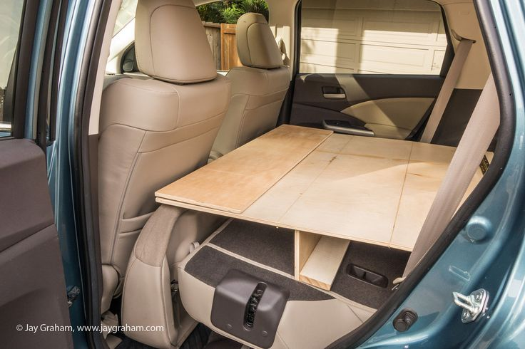 The making of a CRV camper by adding a folding double bed and camp box to a 2013 Honda CRV