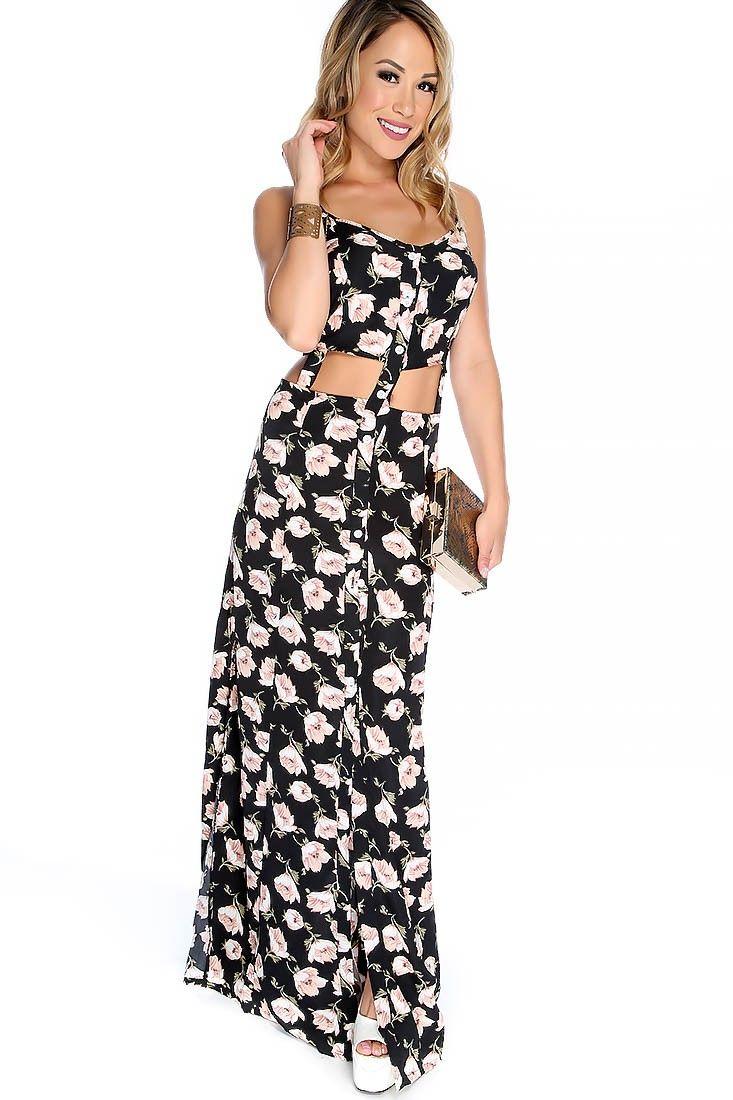 Black button up maxi dress
