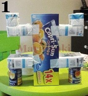 Il était impossible d'imaginer un anniversaire sur le thème de Koh Lanta sans Totem ! Alors voici comment réaliser un totem en matériel de récupération : Ici j'ai utilisé : 2 boîtes de conserves (de la même taille) un pack vide de Capri sun et 4 tétra...