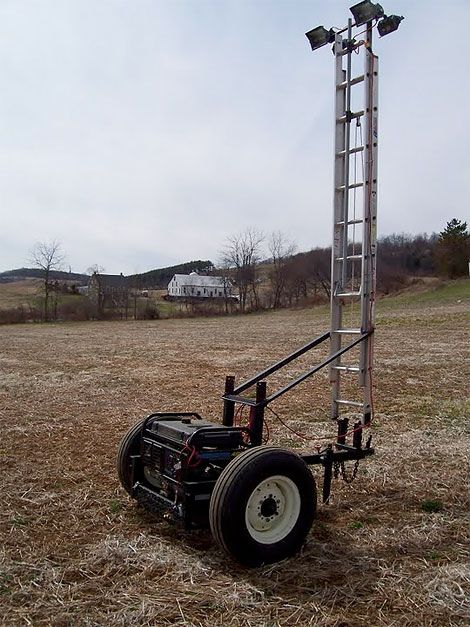 A portable lighting system Time: Two afternoons Cost: $200, not including the generator and cart