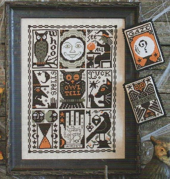 197 prairie schooler cross stitch patterns halloween october autumn owl witch black cat mystic raven hand embroidery by thecottageneedle - Halloween Hand Embroidery Patterns