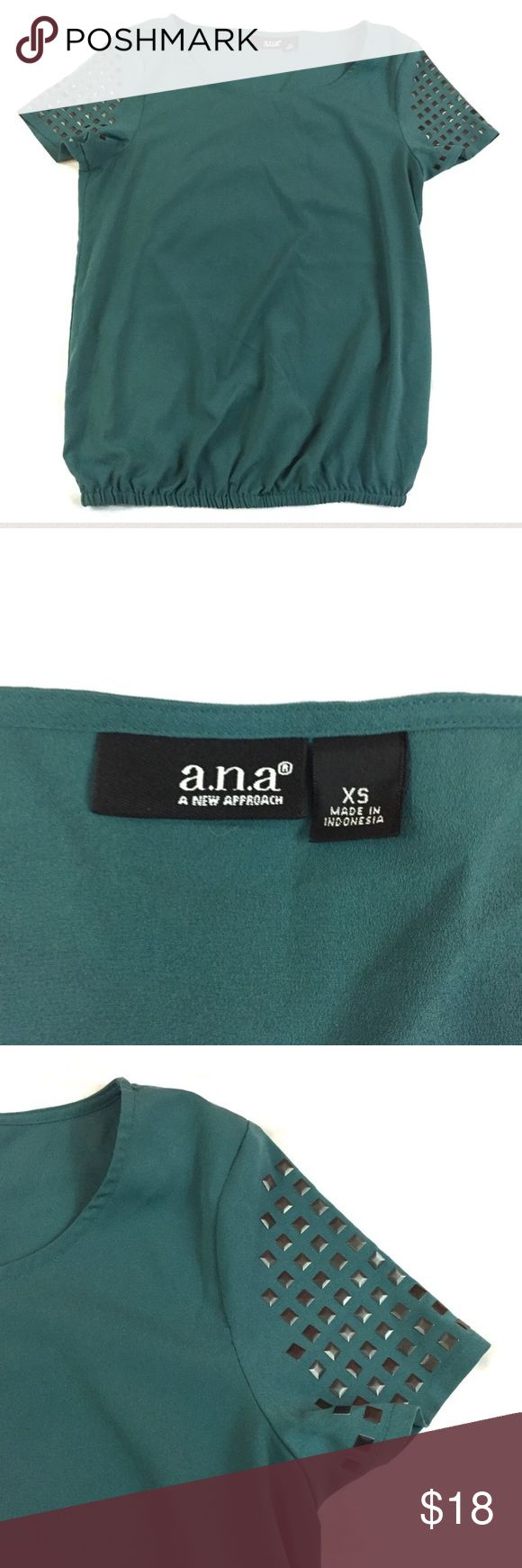 """a.n.a. Jade Green Short Sleeve Blouse w/ Studs XS a.n.a. A New Approach from JC Penney women's top size XS. Short sleeve with studs. Elastic at waist. Length 24"""" Armpit to armpit 17.5"""" a.n.a Tops Blouses"""