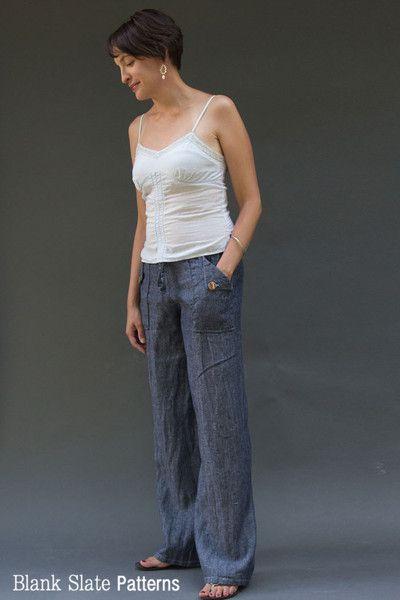 Oceanside Pants Sewing Pattern - Drawstring Waist Pants by Blank Slate Patterns #sewing #pants #oceanside