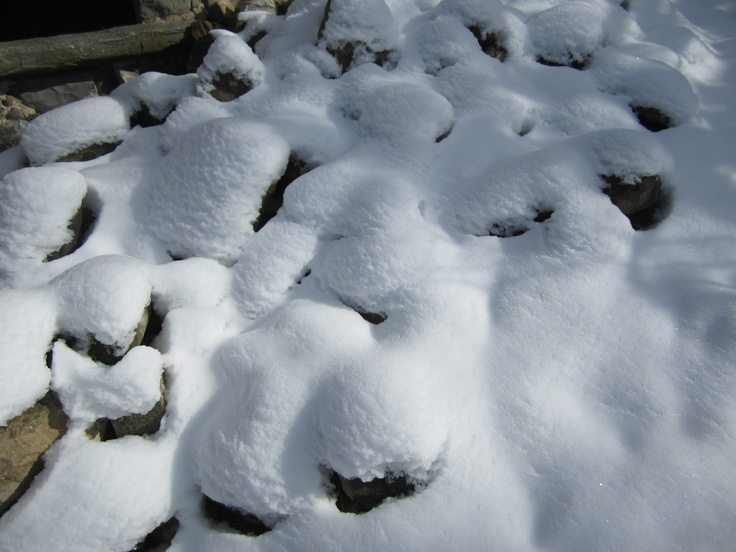 The stones of Il Poggiolo covered with a February snow...