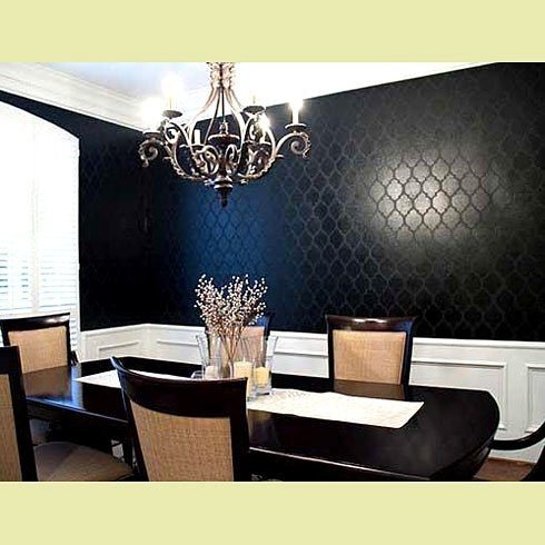 Casablanca Allover Stencil : She painted the walls with a flat paint first then used a high gloss paint over the stencil to give it the look. I'd LOVE this is a different color in a dining room!