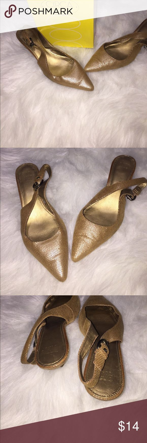 Circa Joan & David pointed toe shoes 3 inch gold Circa Joan & David pointed toe shoes with adjustable strap that cuffs behind feet. Small scuffs on front, see pics. Circa Joan & David Shoes Heels