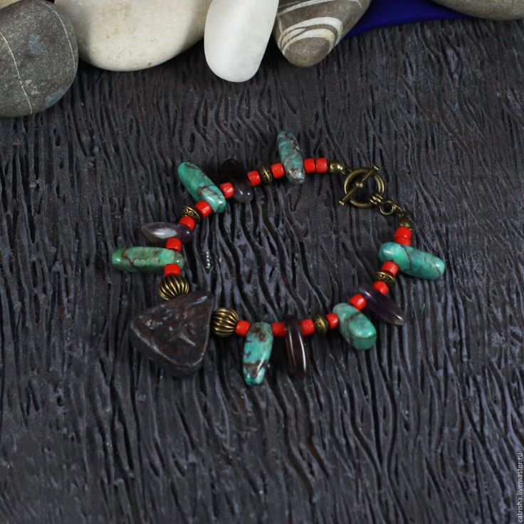 Купить Браслет Гребень Инанны, этно бохо, красный, зеленый, необычный, тайна