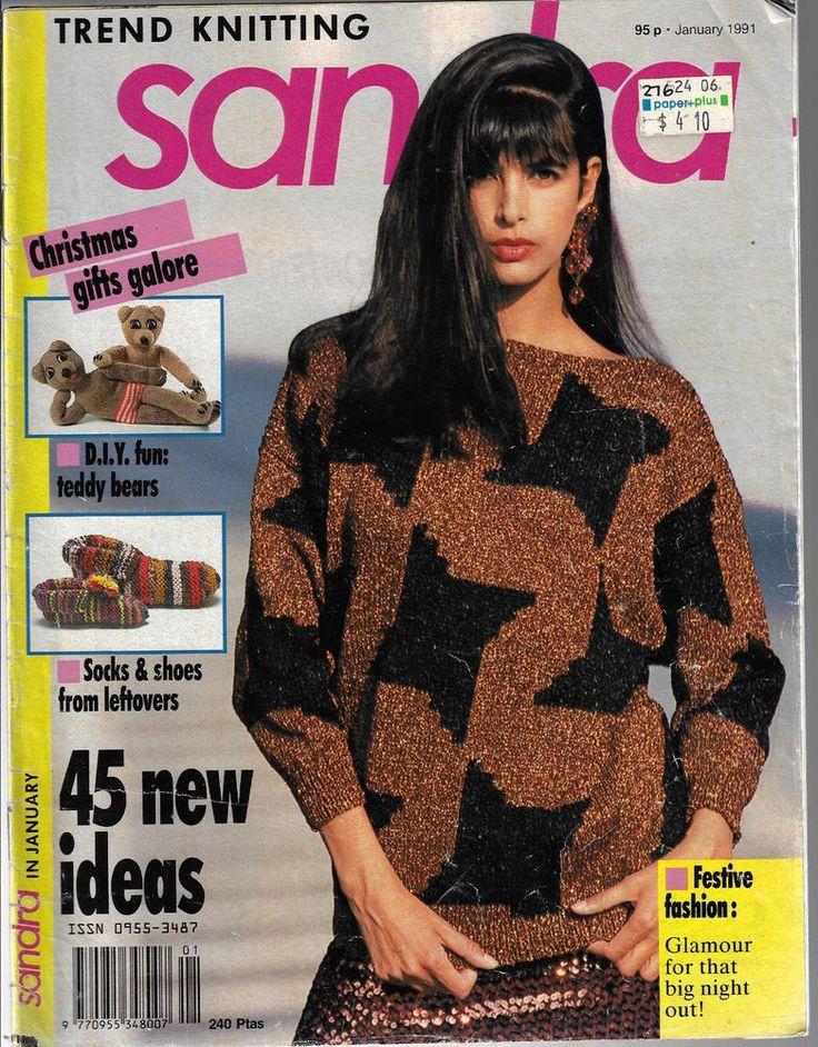 Sandra knitting magazine January 1991 picture knits fairisle sweater teddy wear #Sandra