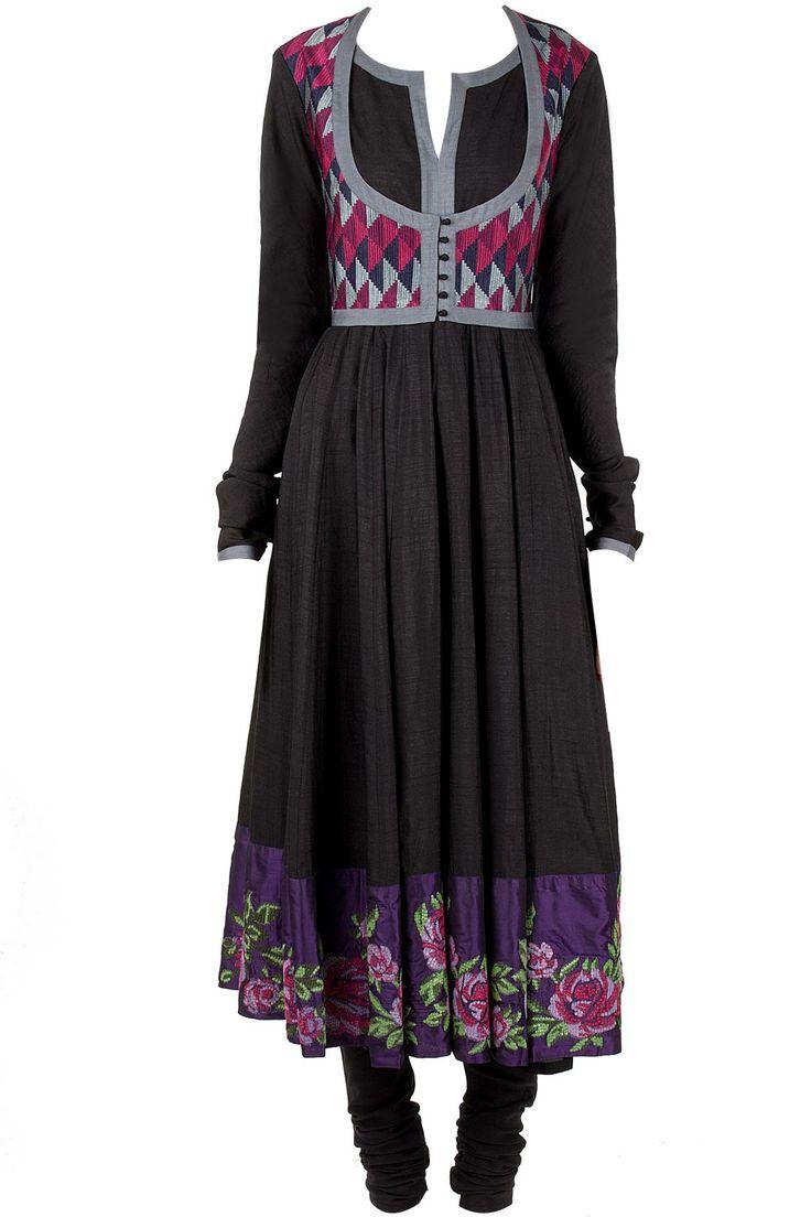 Black kalidaar kurta set with waist coat available only at Pernia's Pop-Up Shop.