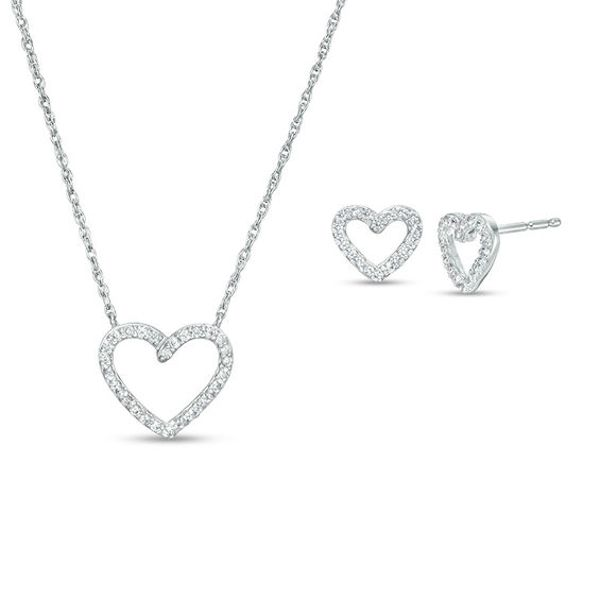 Lab Created White Sapphire Heart Outline Necklace And Stud