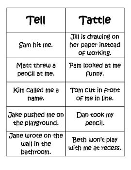 Telling Vs. Tattling Activity Pack What a great tool to help kids and adults during those young years