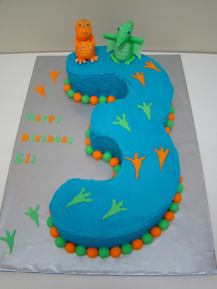 Dinosaur Train Number 3 Cake - Caketivity Australia