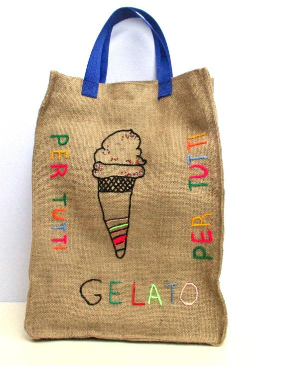Gelato resuable  jute market tote one of a kindfarmers by Apopsis